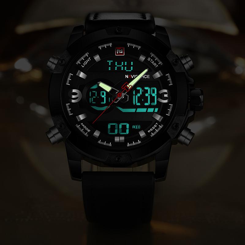 Naviforce Dual Display Watch - Water Resistant + LED Display (4 Colors)   Dukesman.com