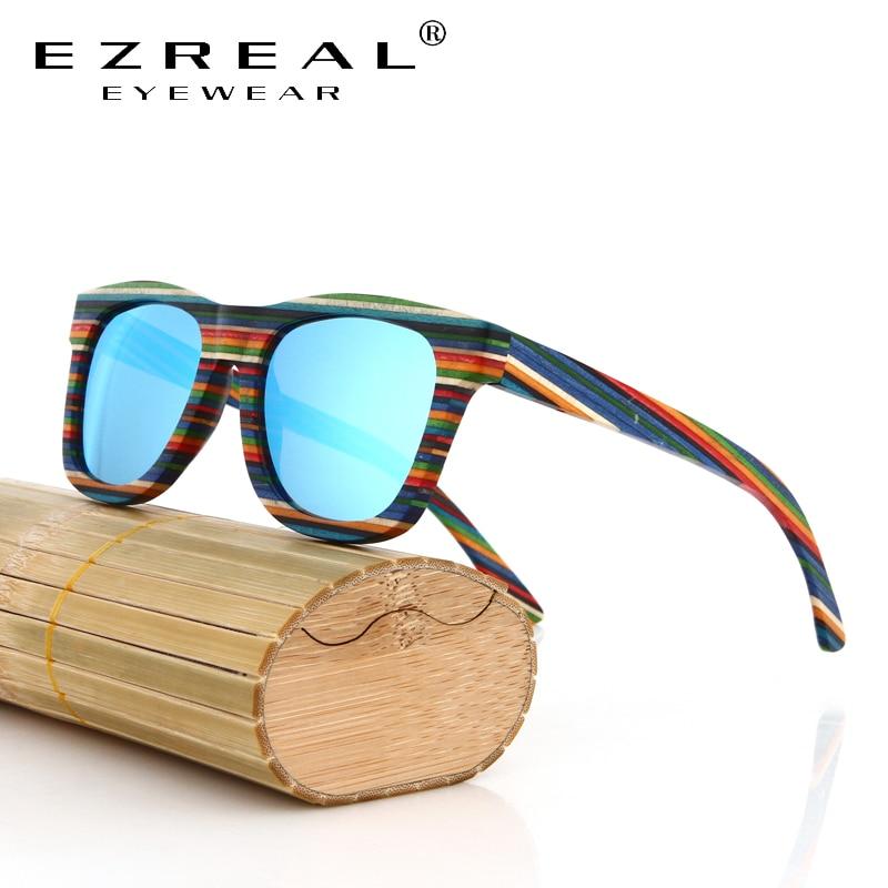 EZREAL Original Wooden Bamboo Sunglasses Men Women Mirrored UV400 Sun Glasses Real Wood Shades Goggles Sunglases Male | Dukesman.com