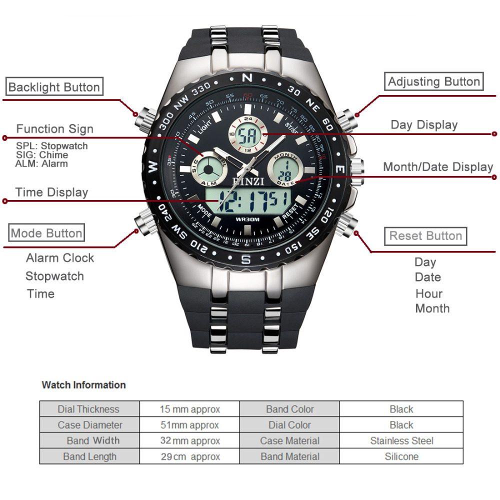 PLATO - Elgin Men's Dual Display Watch   Dukesman.com