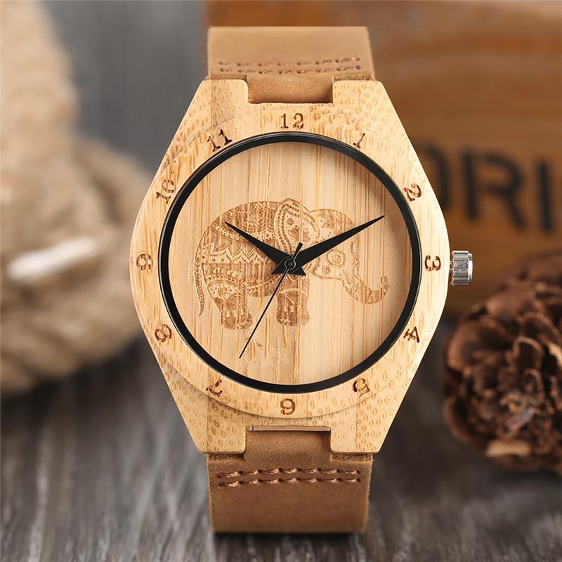 ELEPHANT - Natural Carved Wood Wrist Watch | Dukesman.com