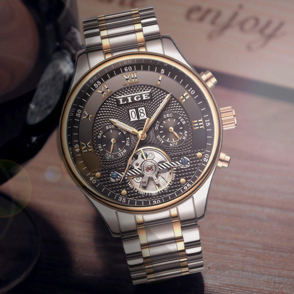 LINGO - Classic Mechanical Automatic Skeleton Watches for Men   Dukesman.com