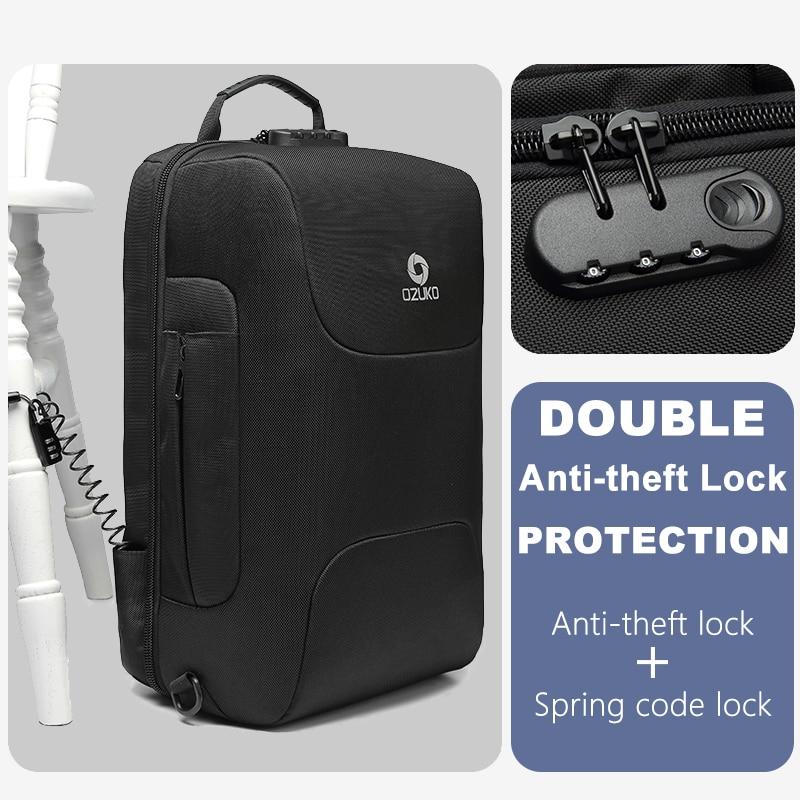 Ozuko -  Laptop Backpack with USB Charging & Waterproof Skin   Dukesman.com