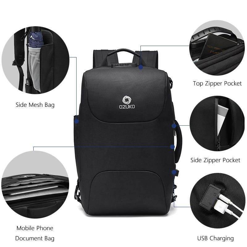 Ozuko -  Laptop Backpack with USB Charging & Waterproof Skin | Dukesman.com